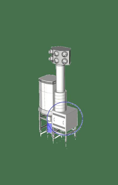 Ventilator in geluid gedempte omkasting 1-min